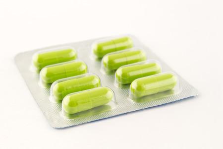 blister: green antibiotic in blister Stock Photo