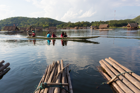house float on water: Loei-November 15 float raft at Huai Krathing with unidentified people on November 15,2015 in Loei, Thailand. tourist attraction location on loei in thailand