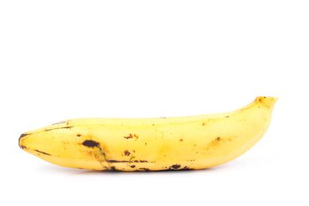bad color: Ripe organic banana on white background