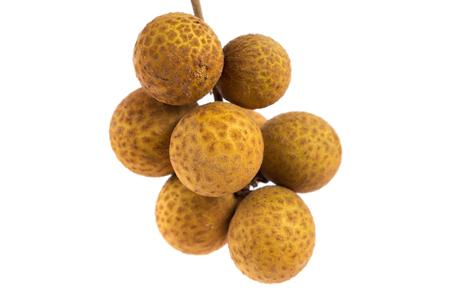flesh colour: fresh longan fruit on white background