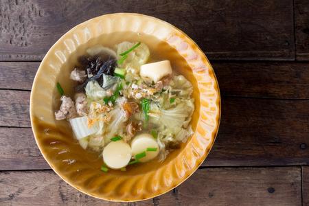 soya bean: Minced pork and soya bean curd soup