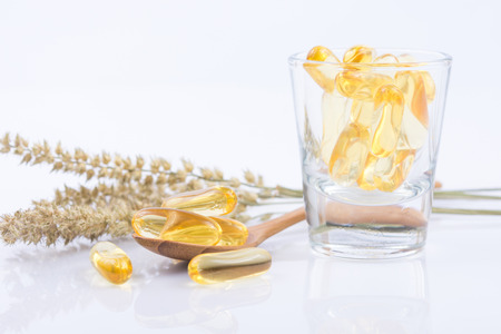 primrose oil: close up Evening primrose oil capsule,supplementary food Stock Photo
