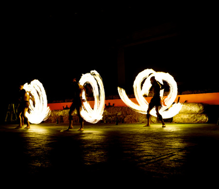 slow motion: slow shutter speed of fire show Editorial