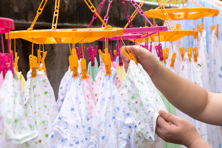 Diapers drying on a clothes line Stock Photo