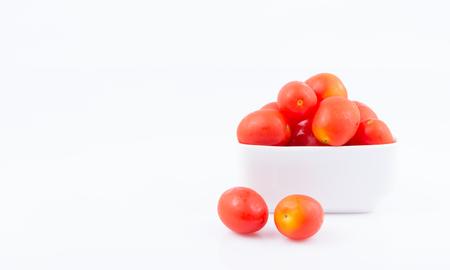 fresh hydroponics Cherry tomato for Health on white Stock Photo
