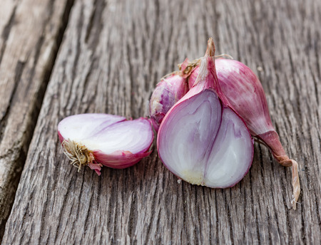 fresh shallot for cooking on wood