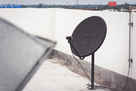 Satellite dish on the building deck