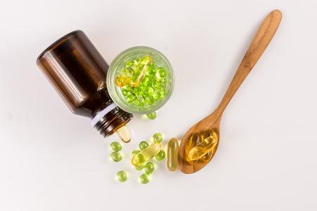 close up Evening primrose oil capsule,supplementary food Stock Photo