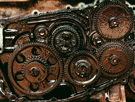 inside gear Of the engine Stock Photo