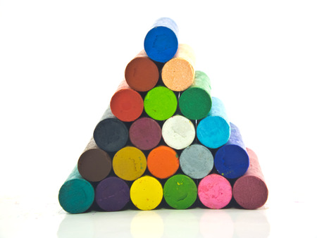 Oil crayons isolated on white background photo