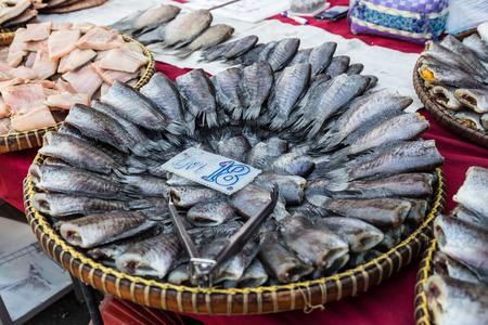 gourami: Dried salted snake skin gourami fish for sale Stock Photo