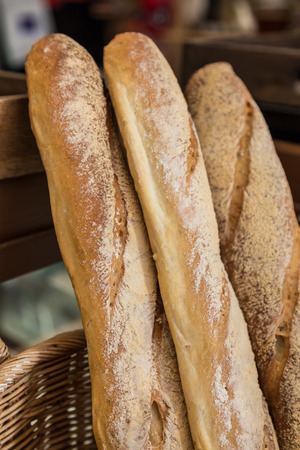 French baguette bread in baskets for sale photo
