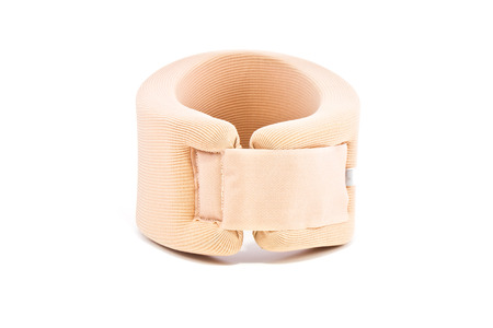 Neck support brace on white background , soft cervical collar photo