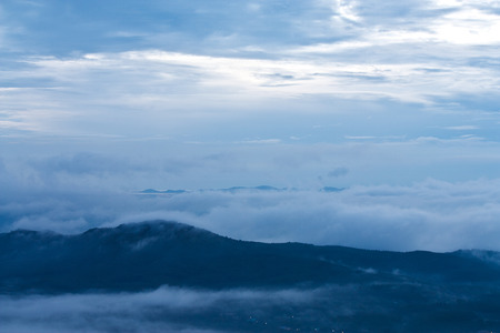 Mountains with morning fog at Hatyai, thailand photo