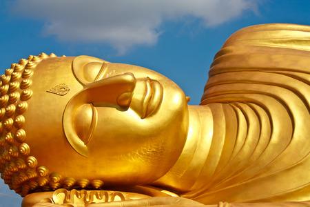 reclining: Face of Reclining buddha Stock Photo
