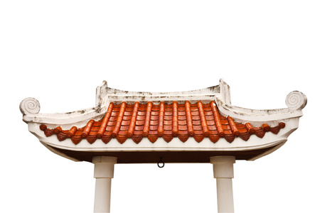 palatial: Gate of Buddhist temple on white background