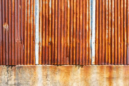 corrugated iron: Rusty on zinc metal plate Stock Photo