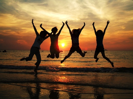 Przyjaźń podróży Tajlandii sunset beach