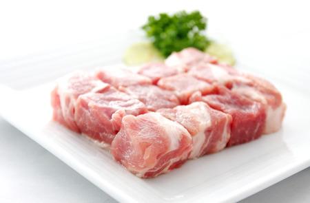 diced: Diced raw from pork Stock Photo