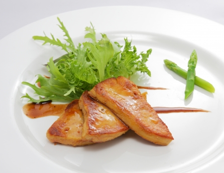 Foie gras salad Stock Photo