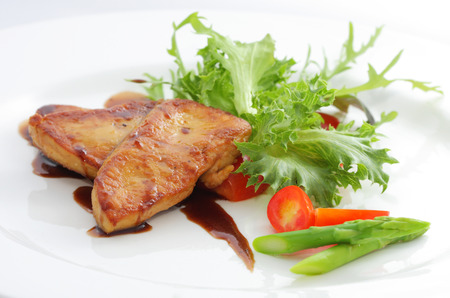 Foie gras salad Stock Photo