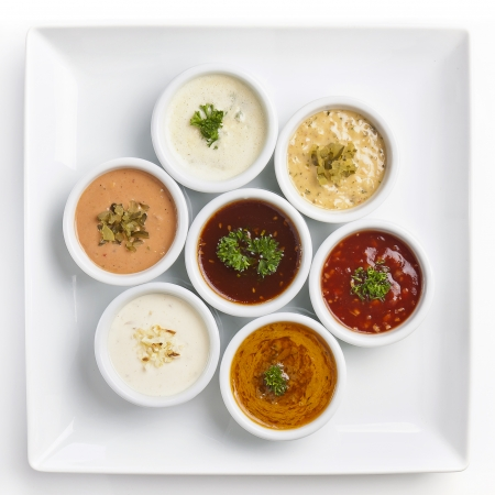 several sauce with different sauces and seasonings