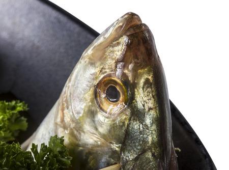 Spicy fish salad, fish bone Stock Photo