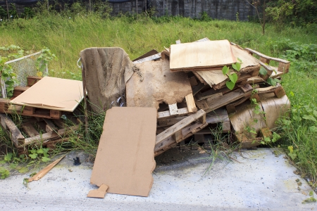 The dump pile of rubbish Big furniture Stock Photo