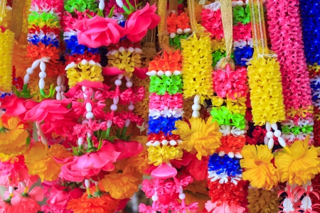 Colorful Thai plastic garland, can be found at any Buddhist Temple