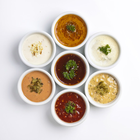 several sauce with different sauces