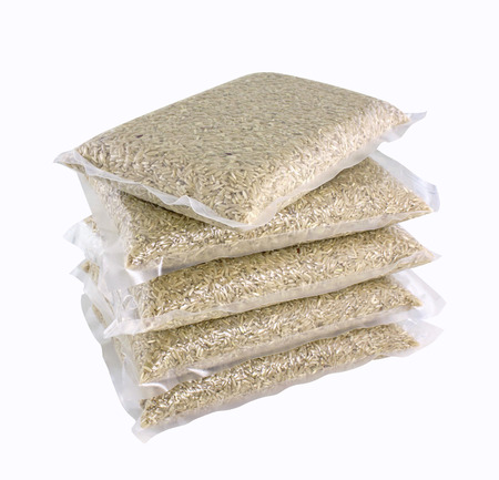 rice pack in plastic vacuumed bag