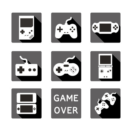 player controls: Collection in stylish trendy colors of virtual computer game items and elements