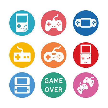 player controls: Game icons vector set of gadget signs