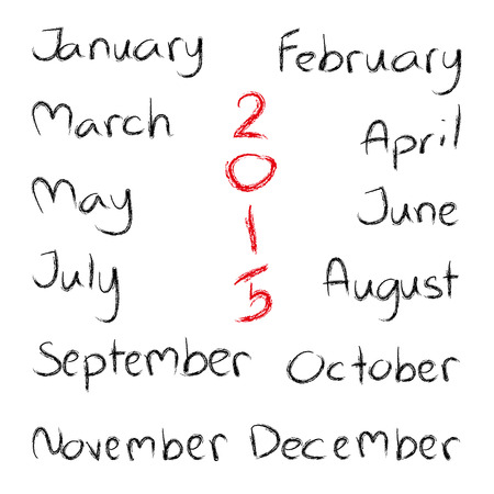 months of the year: Handwritten calligraphy Months of year written with a brush