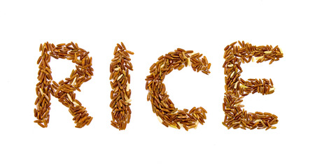 red rice on white background. Product of Thailand, Asia.