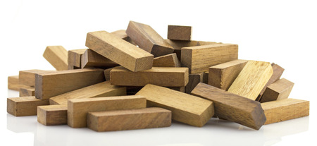 Blocks of wood, JENGA Game. Stock Photo