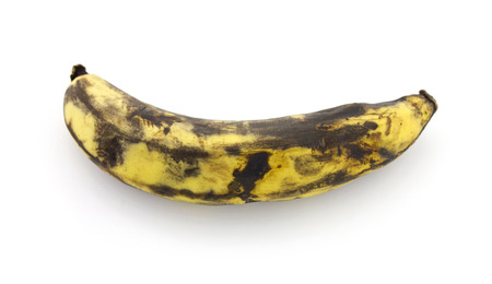 Very Ripe Healthy Banana on a White Background Stock Photo