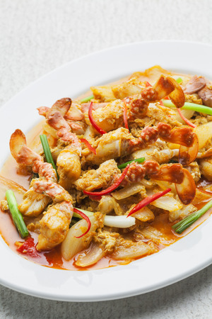 stirred: Stirred Fried Crab with Garlic, Pepper, Curry Powder Stock Photo