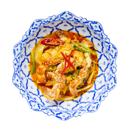 stirred: Stirred Fried Crab with Garlic, Pepper, Curry Powder Stock Photo