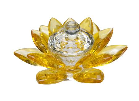 golden light: Crystal lotus on white background