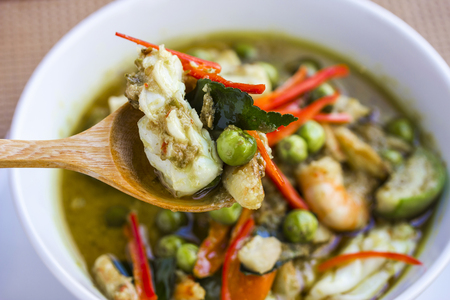 Thai seafood green curry