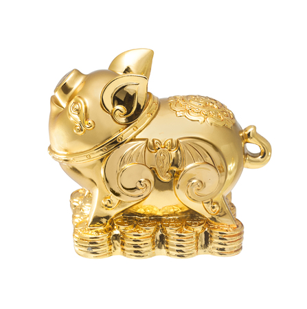 chinese pig: Golden Chinese Pig statue isolated on the white backgroun