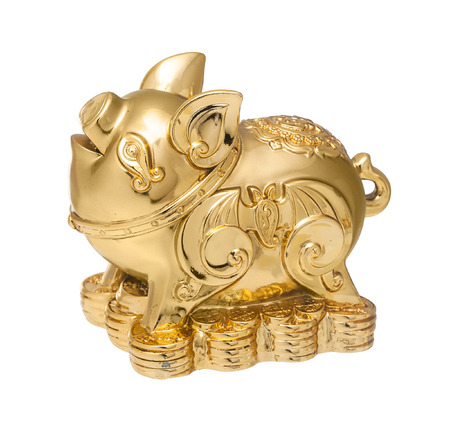 pig: Golden Chinese Pig statue isolated on the white backgroun