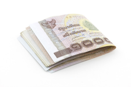 Thai Baht on a white background, Thai money stack imag