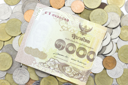richer: close-up Thai Baht Coins background. Thailand money