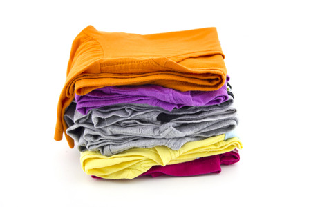 Stack of t-shirt isolated Stock Photo