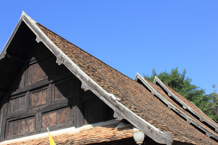 Terracotta ceramic roof tiles from above Stock Photo