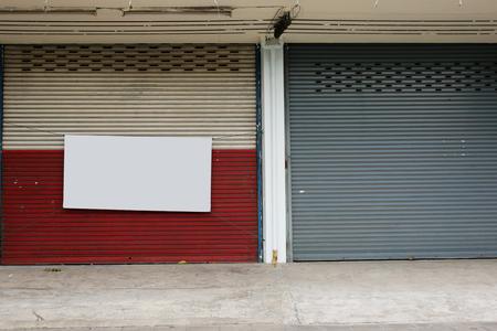 dirty room: Illuminated grunge metallic roll up door