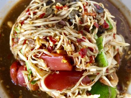Spicy papaya salad, Som-Tum Stock Photo