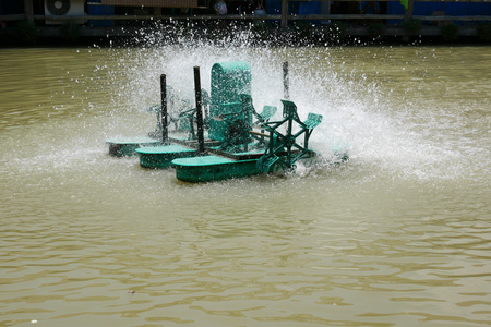 Chaipattana Low Speed Surface Aerator is Water mill to make the good environment Stock Photo